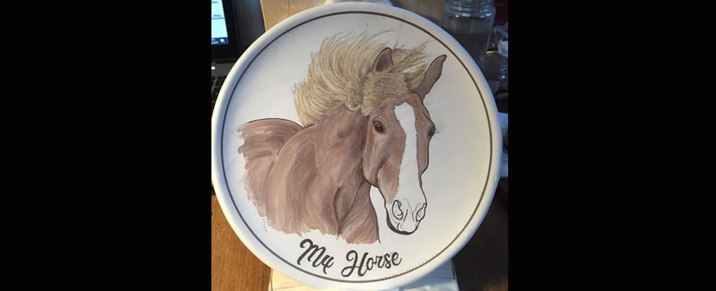 Your horse painted in the plate